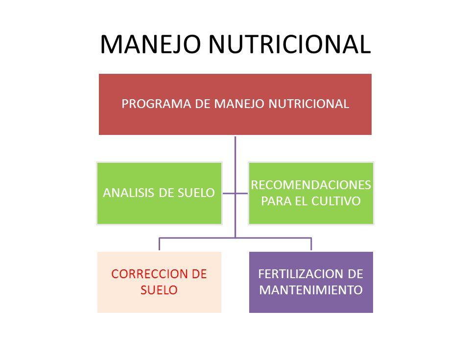 MANEJO NUTRICIONAL PROGRAMA DE MANEJO NUTRICIONAL CORRECCION DE SUELO FERTILIZACION DE MANTENIMIENTO ANALISIS DE SUELO RECOMENDACIONES PARA EL CULTIVO