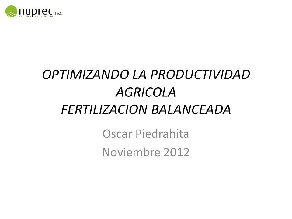 OPTIMIZANDO LA PRODUCTIVIDAD AGRICOLA FERTILIZACION BALANCEADA Oscar Piedrahita Noviembre 2012
