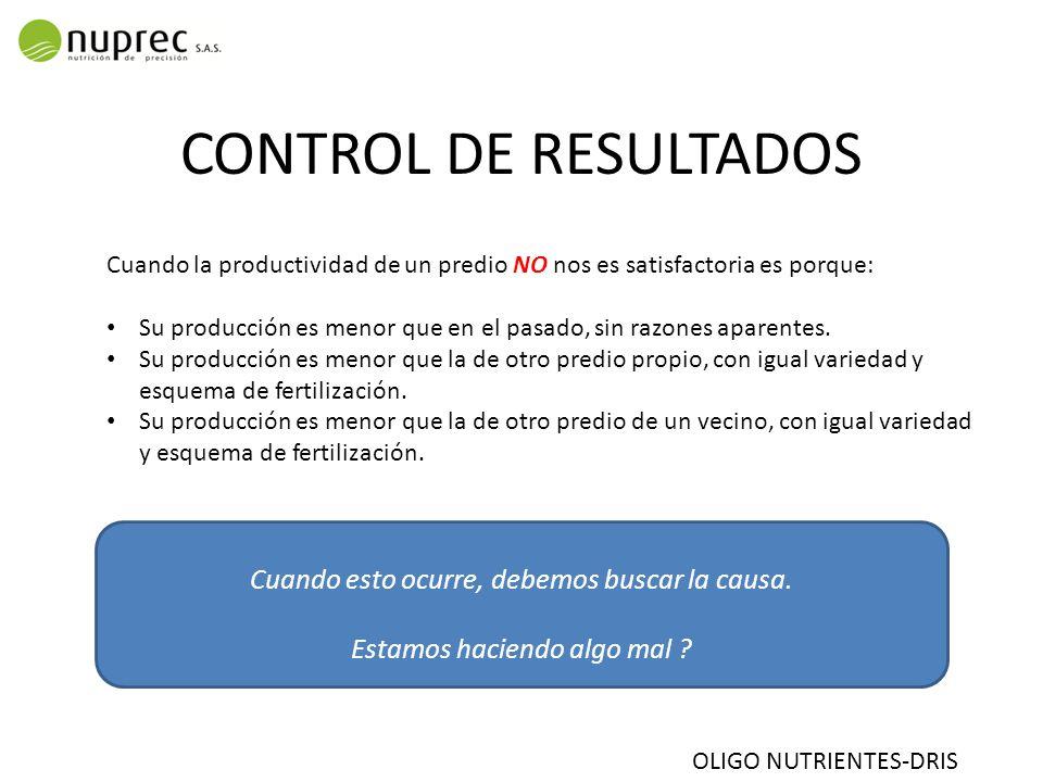 CONTROL DE RESULTADOS Cuando la productividad de un predio NO nos es satisfactoria es porque: Su producción es menor que en el pasado, sin razones aparentes.