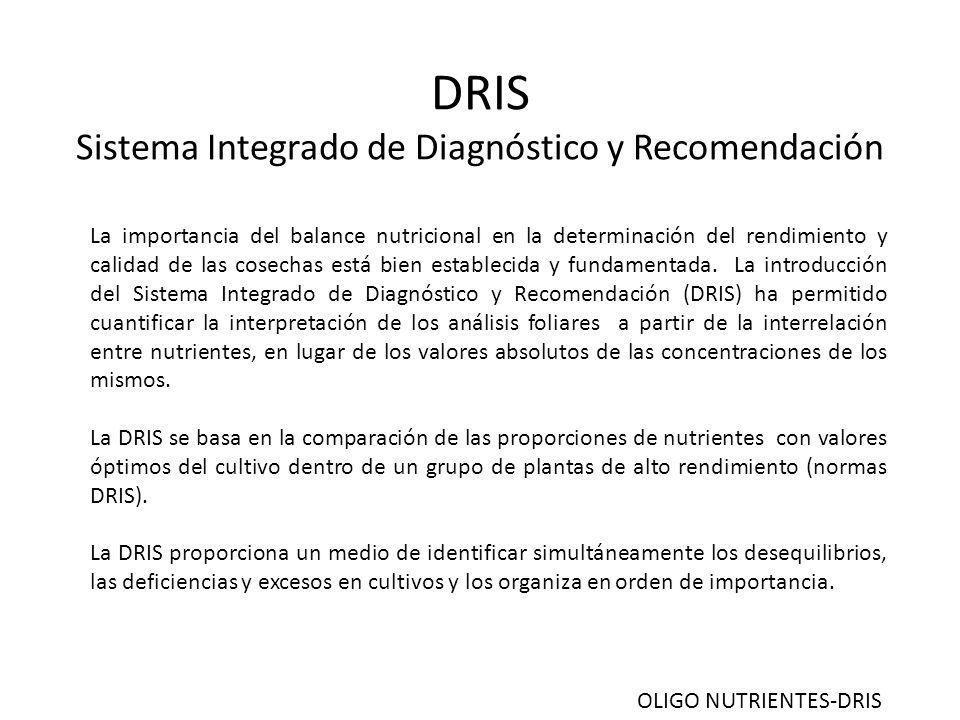DRIS Sistema Integrado de Diagnóstico y Recomendación La importancia del balance nutricional en la determinación del rendimiento y calidad de las cosechas está bien establecida y fundamentada.