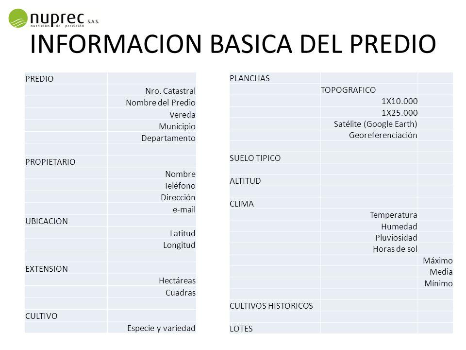 INFORMACION BASICA DEL PREDIO PREDIO Nro.