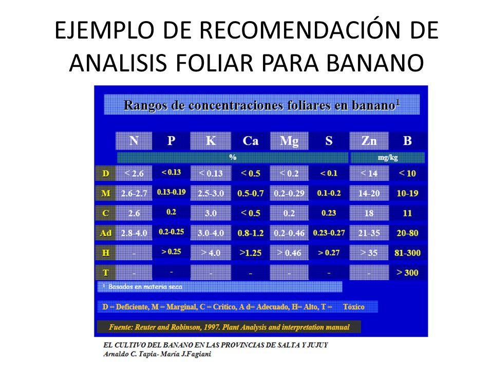 EJEMPLO DE RECOMENDACIÓN DE ANALISIS FOLIAR PARA BANANO