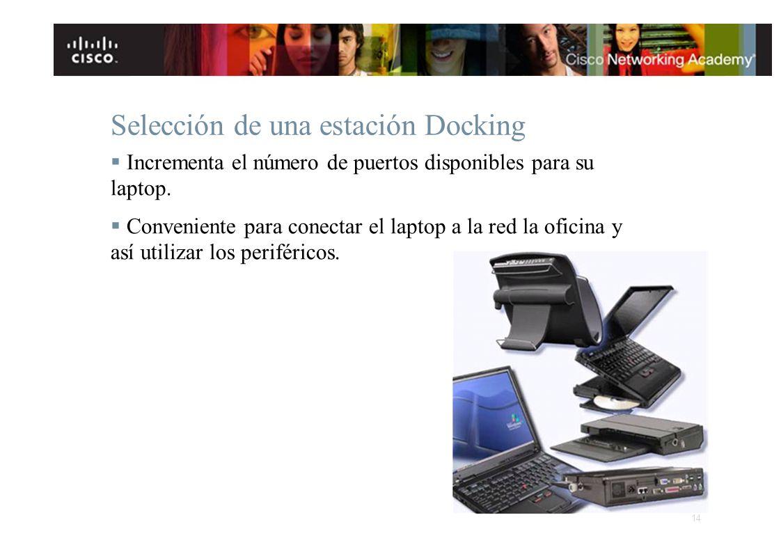 Selección de una estación Docking Incrementa el número de puertos disponibles para su laptop. Conveniente para conectar el laptop a la red la oficina