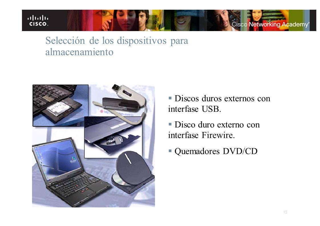 Selección de los dispositivos para almacenamiento Discos duros externos con interfase USB. Disco duro externo con interfase Firewire. Quemadores DVD/C