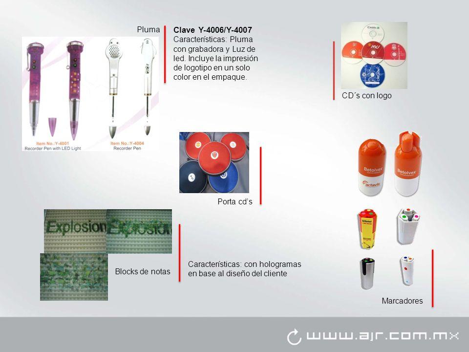 Clave Y-4006/Y-4007 Características: Pluma con grabadora y Luz de led.