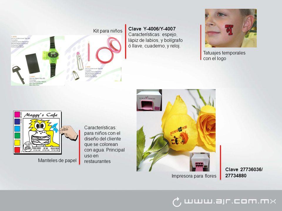 Clave Y-4006/Y-4007 Características: espejo, lápiz de labios, y bolígrafo ó llave, cuaderno, y reloj.