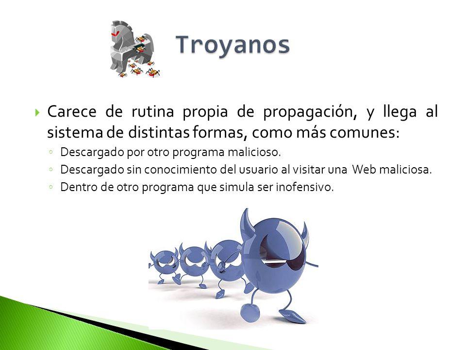 Adware Bloqueador Bomba lógica Broma (Joke) Bulo (Hoax) Capturador de Pulsaciones (Keylogger) Clicker Criptovirus (Ransomware) Descargador (Downloader) Espía (Spyware) Exploit Herramienta de Fraude Instalador (Dropper) Ladrón de Contraseñas (PWStealer) Puerta Trasera (Backdoor) Secuestrador del Navegador (Browser Hijacker) Spam