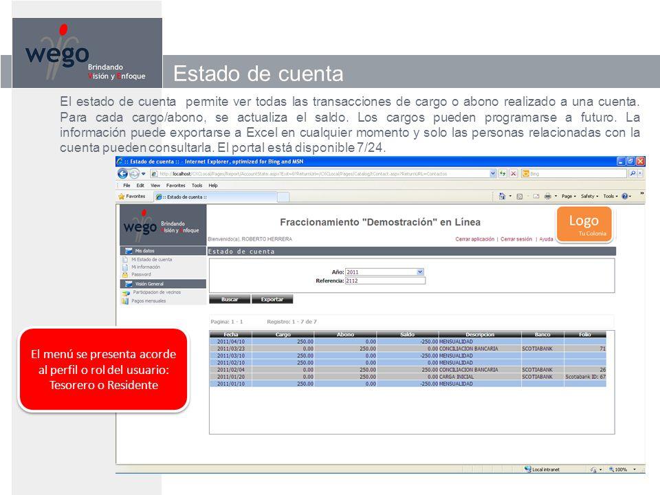 Estado de cuenta El estado de cuenta permite ver todas las transacciones de cargo o abono realizado a una cuenta.