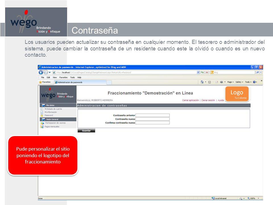 Contraseña Los usuarios pueden actualizar su contraseña en cualquier momento.