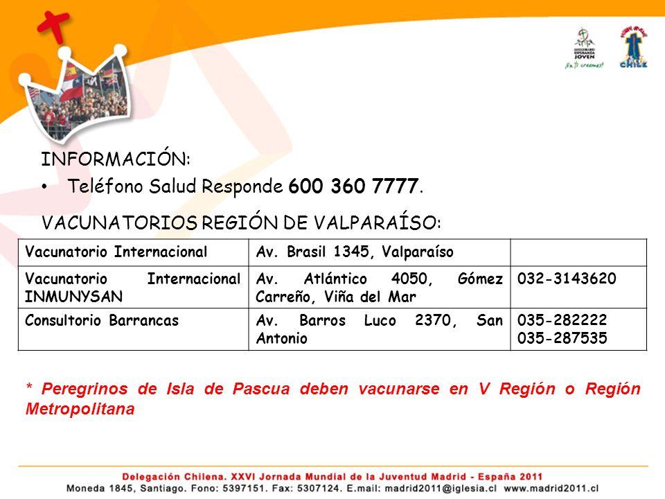 INFORMACIÓN: Teléfono Salud Responde 600 360 7777.