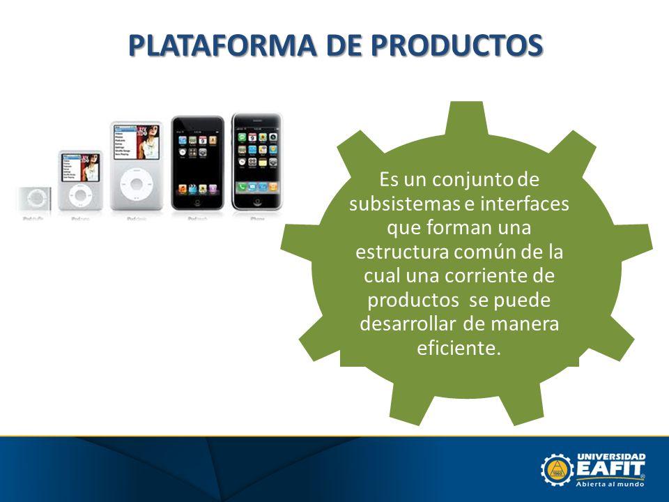 PLATAFORMA DE PRODUCTOS Es un conjunto de subsistemas e interfaces que forman una estructura común de la cual una corriente de productos se puede desa