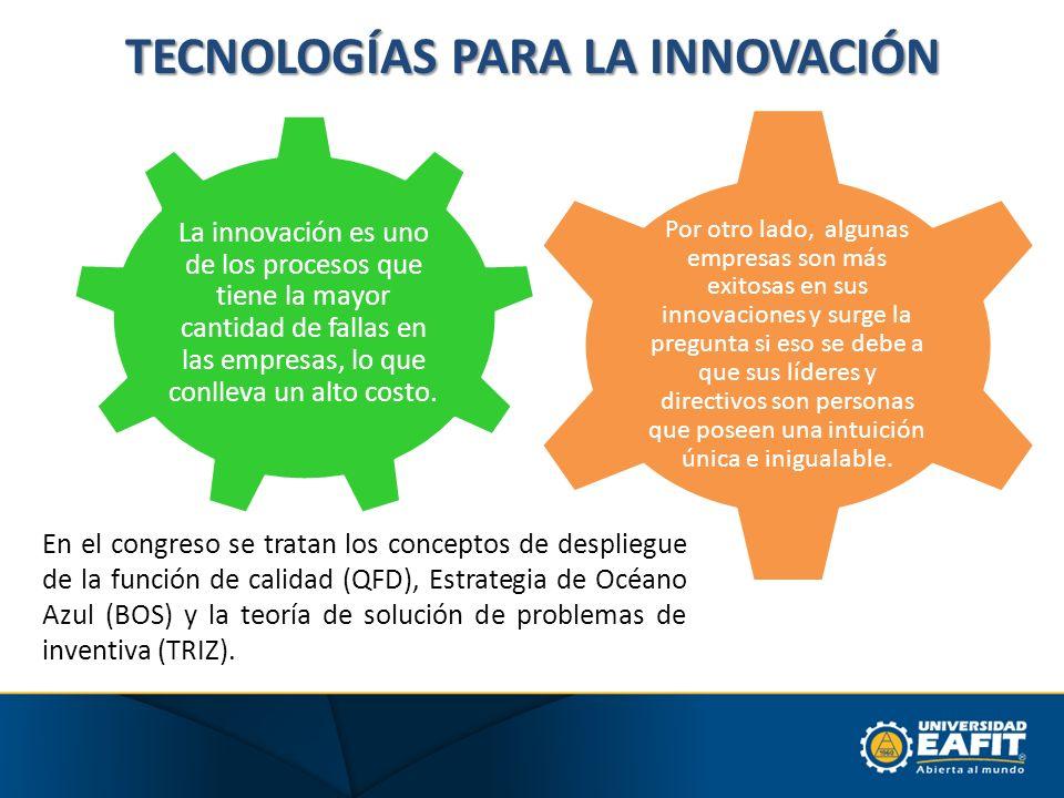 TECNOLOGÍAS PARA LA INNOVACIÓN La innovación es uno de los procesos que tiene la mayor cantidad de fallas en las empresas, lo que conlleva un alto cos