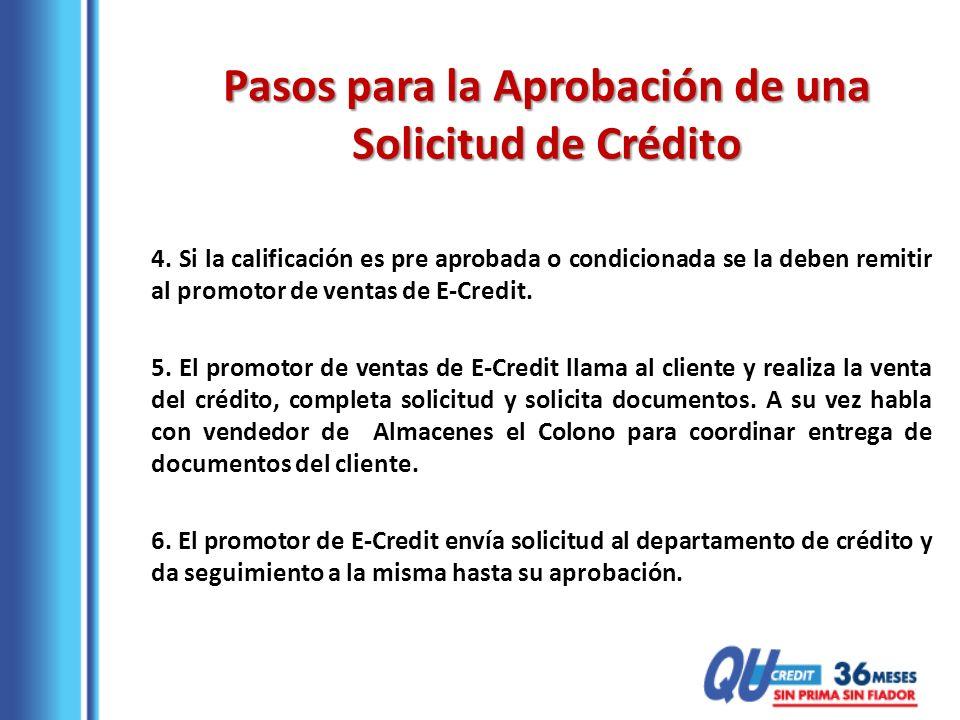 4. Si la calificación es pre aprobada o condicionada se la deben remitir al promotor de ventas de E-Credit. 5. El promotor de ventas de E-Credit llama