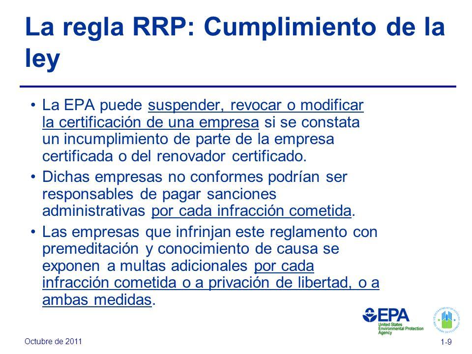 Octubre de 2011 1-9 La regla RRP: Cumplimiento de la ley La EPA puede suspender, revocar o modificar la certificación de una empresa si se constata un