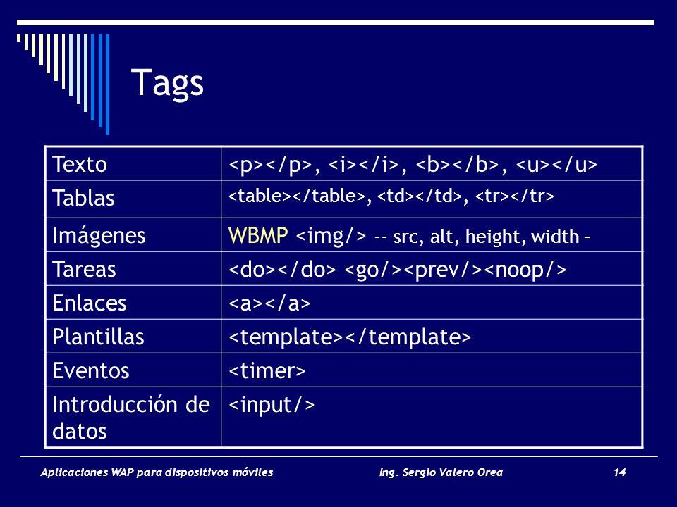 Aplicaciones WAP para dispositivos móvilesIng. Sergio Valero Orea 14 Tags Texto,,, Tablas,, ImágenesWBMP -- src, alt, height, width – Tareas Enlaces P