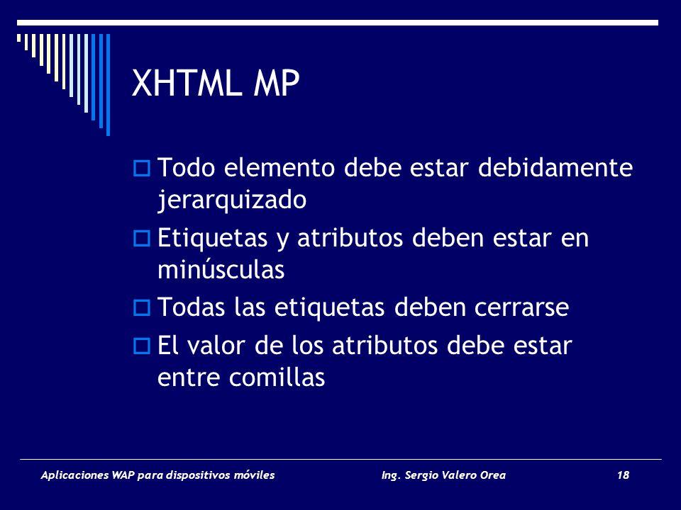 Aplicaciones WAP para dispositivos móvilesIng. Sergio Valero Orea 18 XHTML MP Todo elemento debe estar debidamente jerarquizado Etiquetas y atributos
