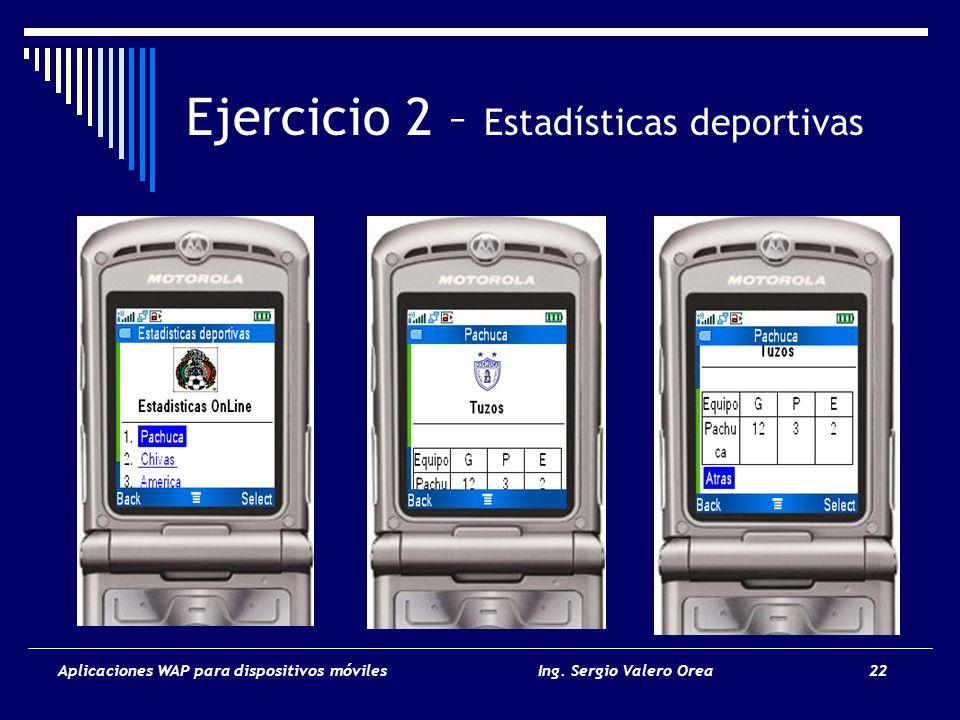 Aplicaciones WAP para dispositivos móvilesIng. Sergio Valero Orea 22 Ejercicio 2 – Estadísticas deportivas