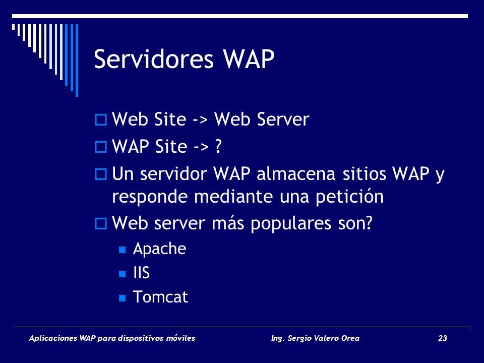 Aplicaciones WAP para dispositivos móvilesIng. Sergio Valero Orea 23 Servidores WAP Web Site -> Web Server WAP Site -> ? Un servidor WAP almacena siti