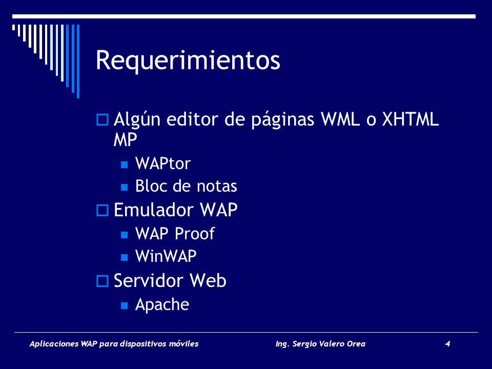 Aplicaciones WAP para dispositivos móvilesIng. Sergio Valero Orea 4 Requerimientos Algún editor de páginas WML o XHTML MP WAPtor Bloc de notas Emulado