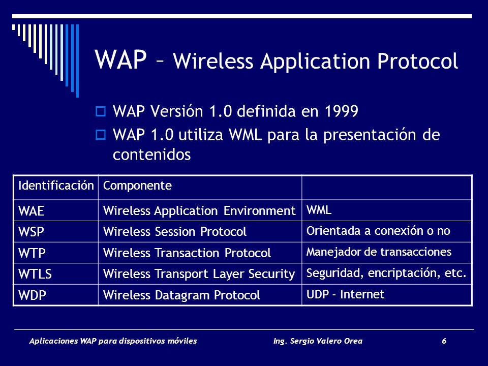 Aplicaciones WAP para dispositivos móvilesIng. Sergio Valero Orea 6 WAP – Wireless Application Protocol WAP Versión 1.0 definida en 1999 WAP 1.0 utili