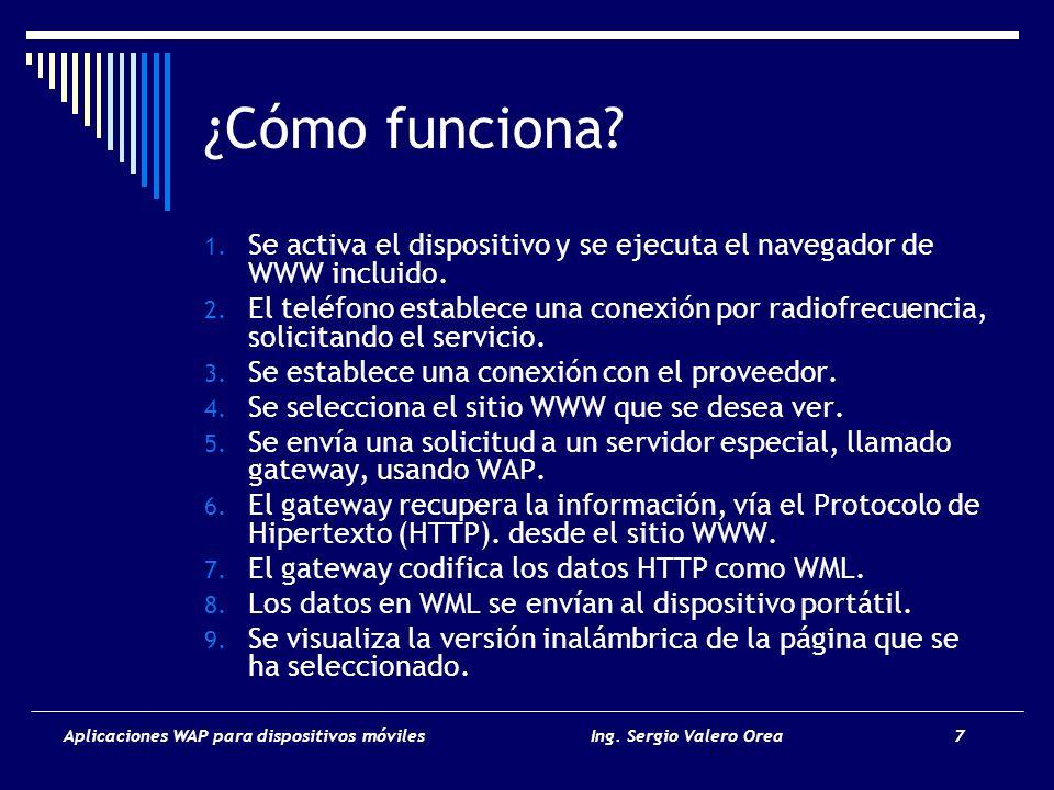 Aplicaciones WAP para dispositivos móvilesIng. Sergio Valero Orea 8 Cómo funciona?