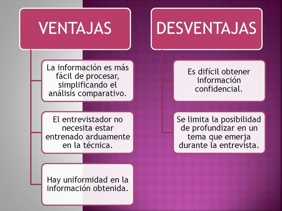 VENTAJAS La información es más fácil de procesar, simplificando el análisis comparativo. El entrevistador no necesita estar entrenado arduamente en la