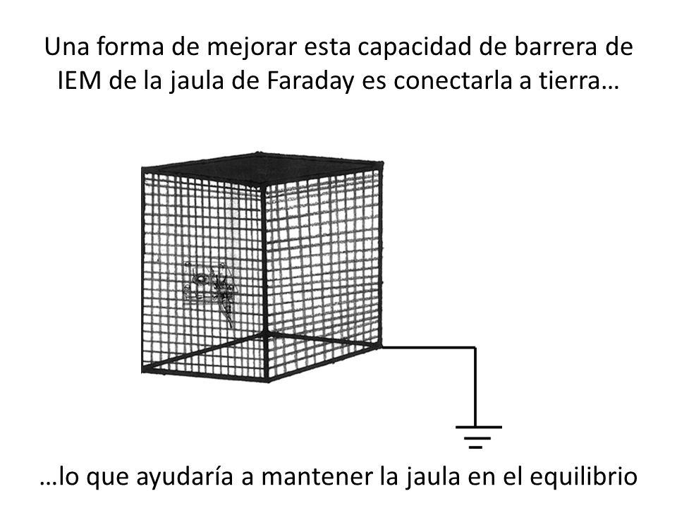 Una forma de mejorar esta capacidad de barrera de IEM de la jaula de Faraday es conectarla a tierra… …lo que ayudaría a mantener la jaula en el equili