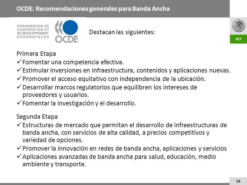 13 OCDE: Recomendaciones generales para Banda Ancha Destacan las siguientes: Primera Etapa Fomentar una competencia efectiva.