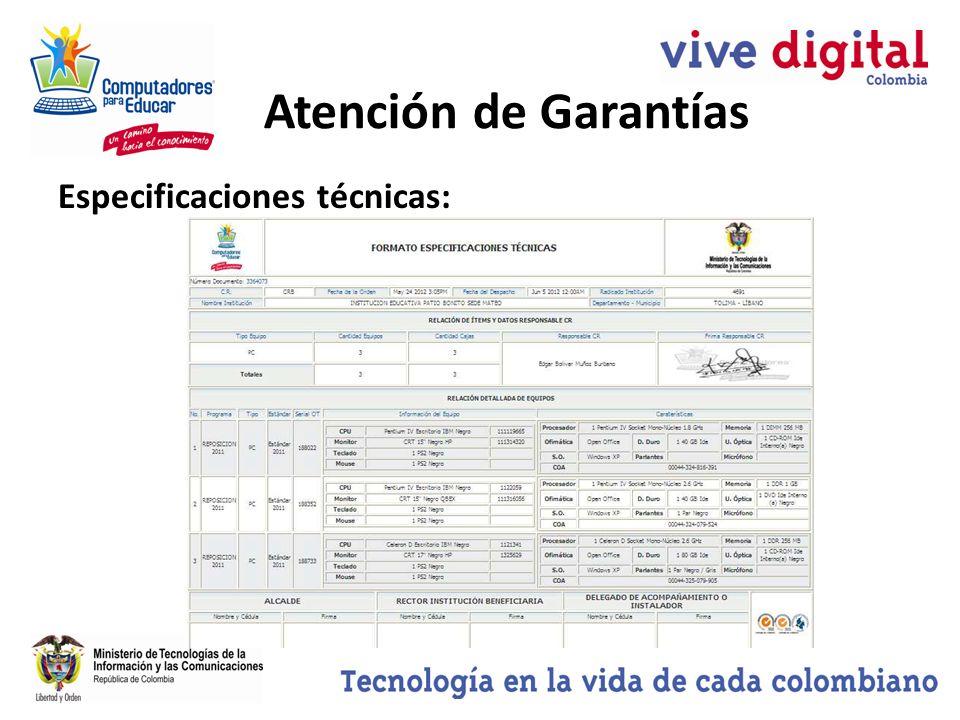 Especificaciones técnicas: Atención de Garantías