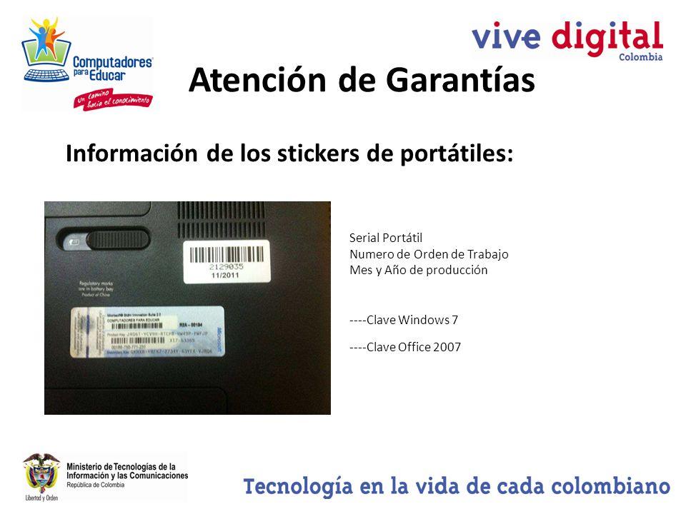 Atención de Garantías Información de los stickers de portátiles: Serial Portátil Numero de Orden de Trabajo Mes y Año de producción ----Clave Windows 7 ----Clave Office 2007
