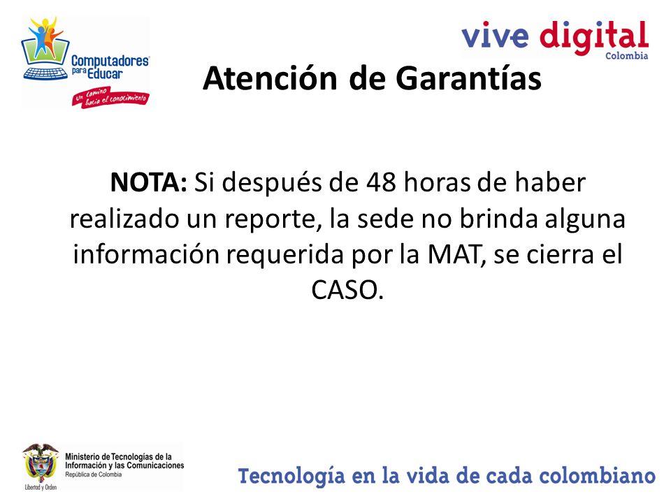 NOTA: Si después de 48 horas de haber realizado un reporte, la sede no brinda alguna información requerida por la MAT, se cierra el CASO.