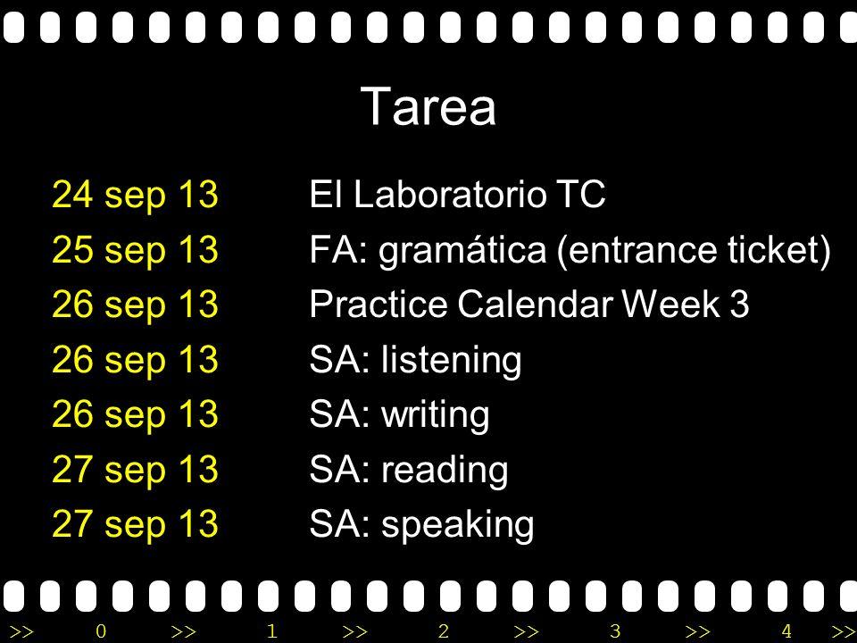 >>0 >>1 >> 2 >> 3 >> 4 >> la clase de español I A practicar: preguntas personales A escuchar: repaso 1A A repasar: la hora A leer: cortesía A leer: le