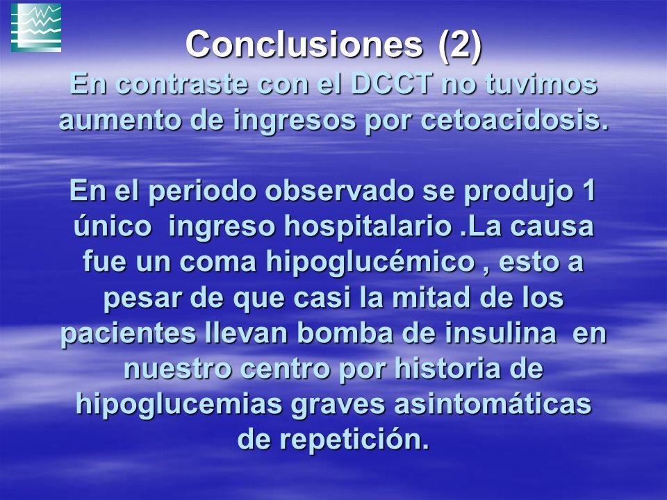 Conclusiones (2) En contraste con el DCCT no tuvimos aumento de ingresos por cetoacidosis. En el periodo observado se produjo 1 único ingreso hospital