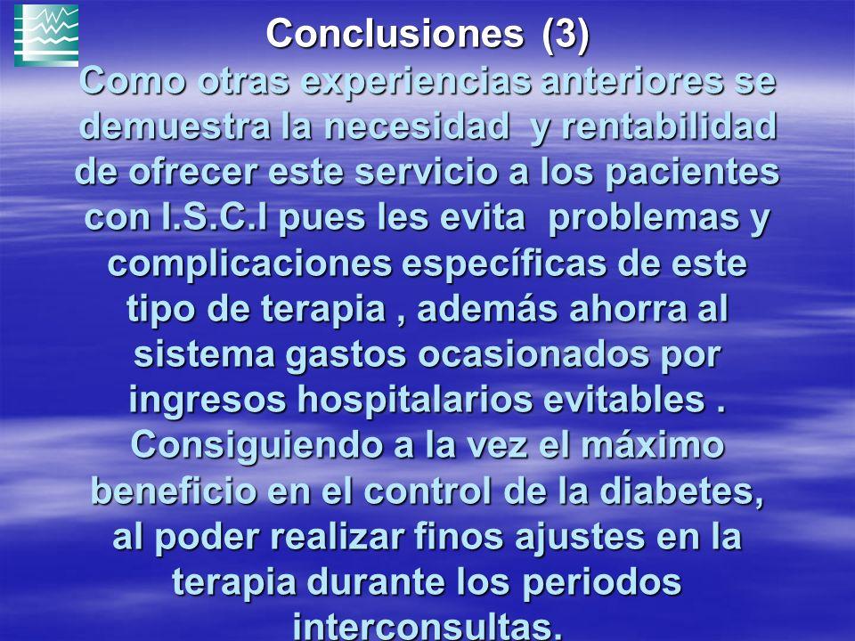 Conclusiones (3) Como otras experiencias anteriores se demuestra la necesidad y rentabilidad de ofrecer este servicio a los pacientes con I.S.C.I pues