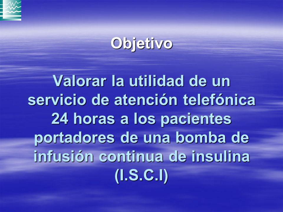 Objetivo Valorar la utilidad de un servicio de atención telefónica 24 horas a los pacientes portadores de una bomba de infusión continua de insulina (I.S.C.I)