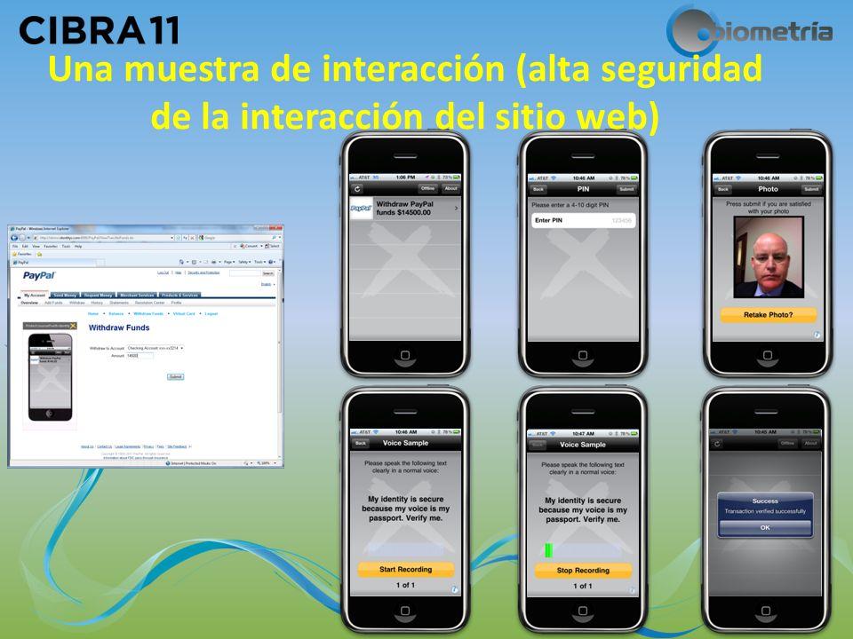 Una muestra de interacción (alta seguridad de la interacción del sitio web) 11