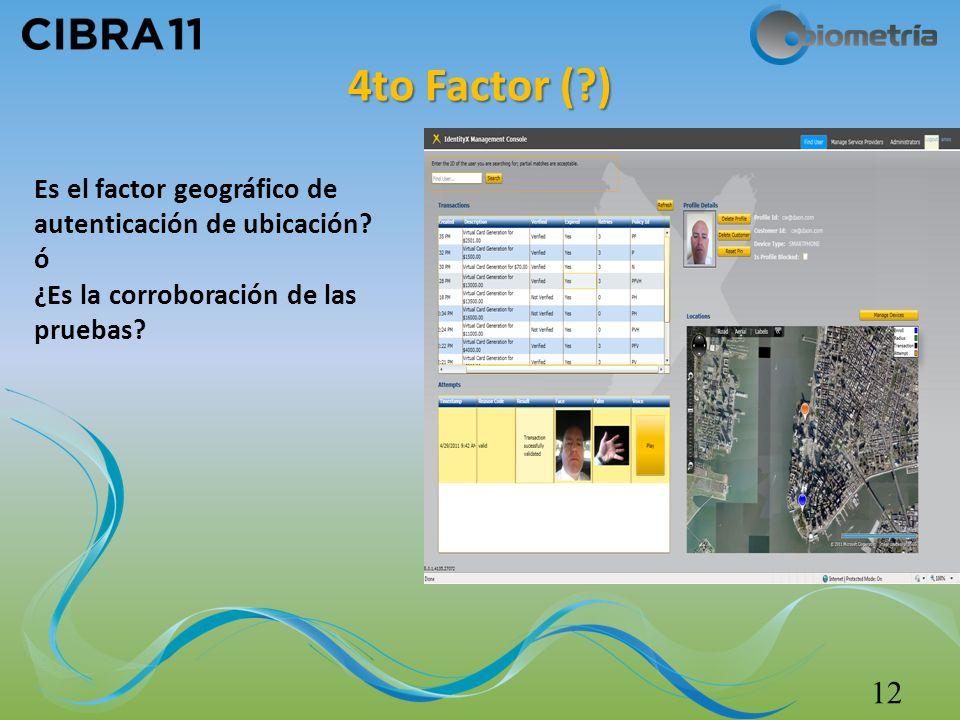 4to Factor ( ) 12 Es el factor geográfico de autenticación de ubicación.