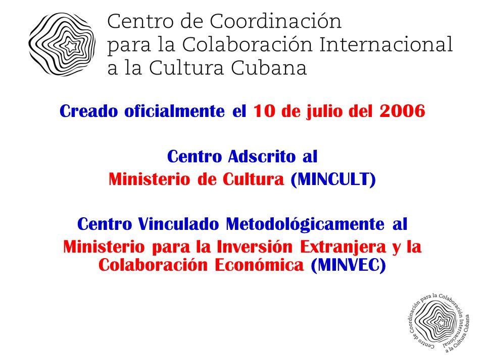 Creado oficialmente el 10 de julio del 2006 Centro Adscrito al Ministerio de Cultura (MINCULT) Centro Vinculado Metodológicamente al Ministerio para la Inversión Extranjera y la Colaboración Económica (MINVEC)