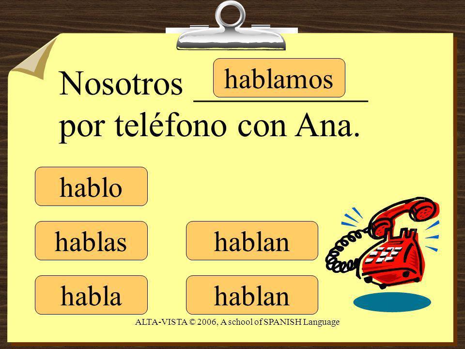 hablo hablas habla hablamos hablan Nosotros __________ por teléfono con Ana.