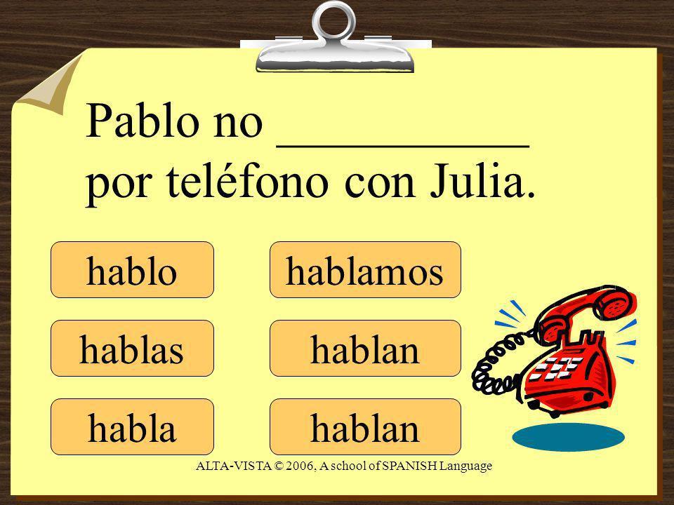 hablo hablas habla hablamos hablan Pablo no __________ por teléfono con Julia.