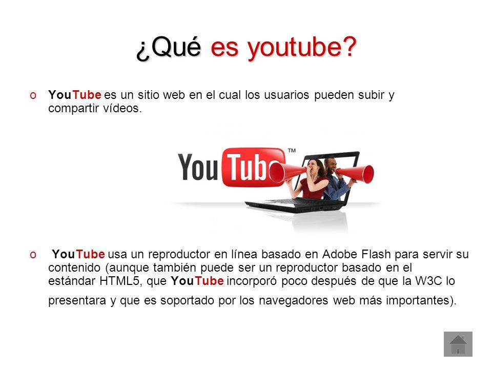 ¿Qué es youtube? oYouTube es un sitio web en el cual los usuarios pueden subir y compartir vídeos. o YouTube usa un reproductor en línea basado en Ado