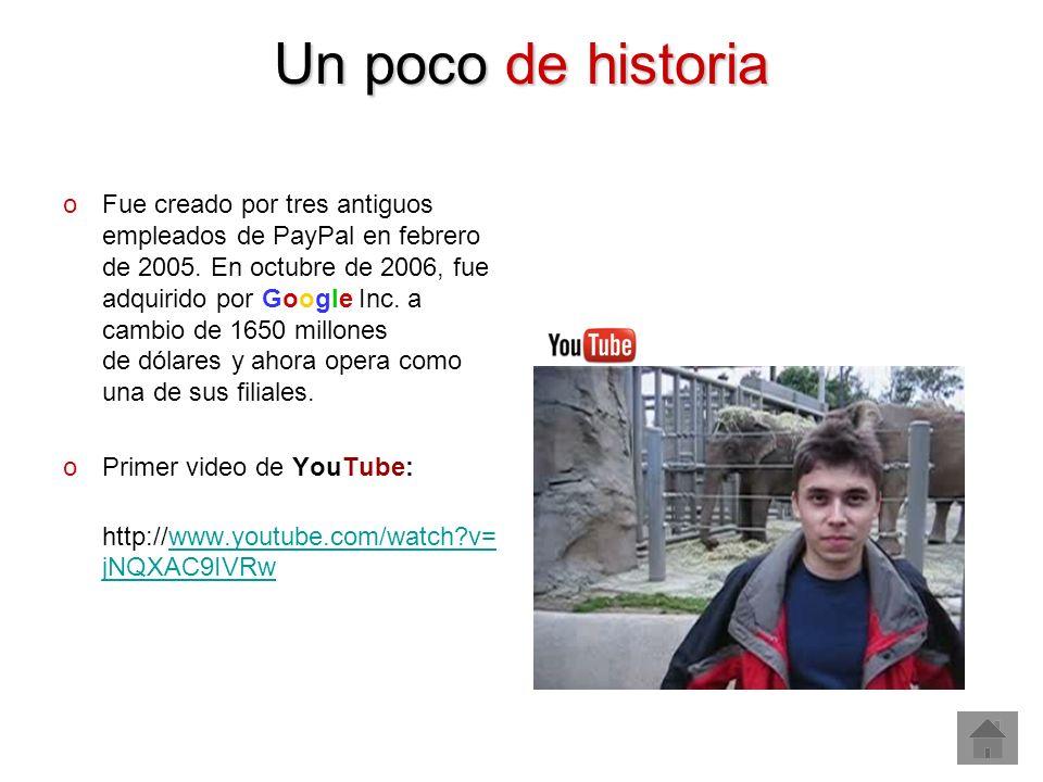 Un poco de historia oFue creado por tres antiguos empleados de PayPal en febrero de 2005. En octubre de 2006, fue adquirido por Google Inc. a cambio d