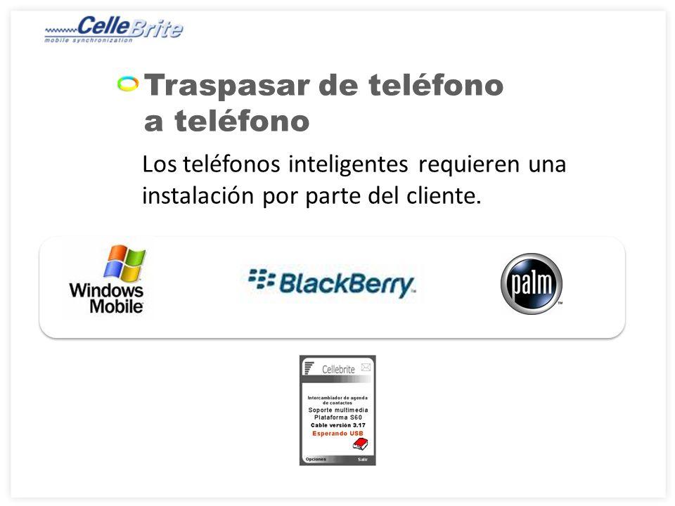 Traspasar de teléfono a teléfono Los teléfonos inteligentes requieren una instalación por parte del cliente.