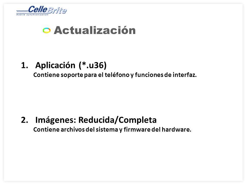 Actualización 1.Aplicación (*.u36) Contiene soporte para el teléfono y funciones de interfaz.