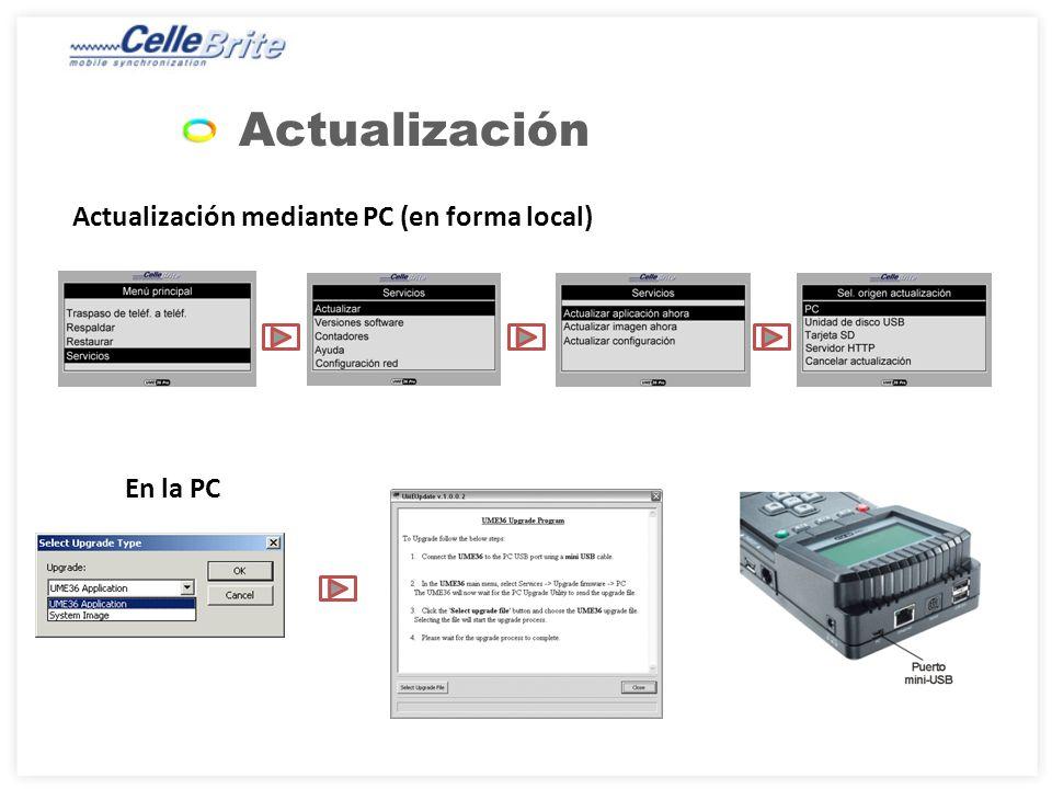 Actualización Actualización mediante PC (en forma local) En la PC