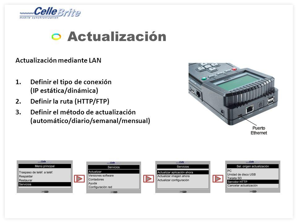 Actualización Actualización mediante LAN 1.Definir el tipo de conexión (IP estática/dinámica) 2.Definir la ruta (HTTP/FTP) 3.Definir el método de actualización (automático/diario/semanal/mensual)