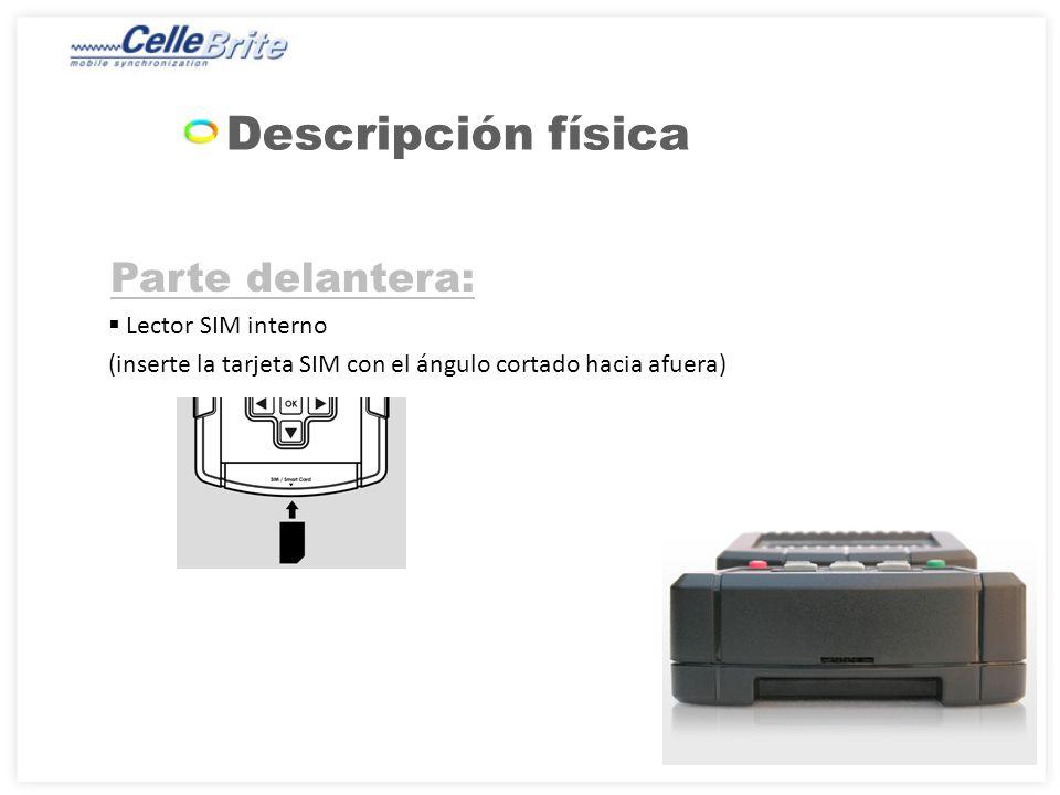 Parte delantera: Lector SIM interno (inserte la tarjeta SIM con el ángulo cortado hacia afuera) Descripción física