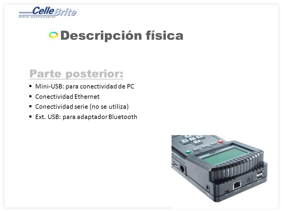 Parte posterior: Mini-USB: para conectividad de PC Conectividad Ethernet Conectividad serie (no se utiliza) Ext.