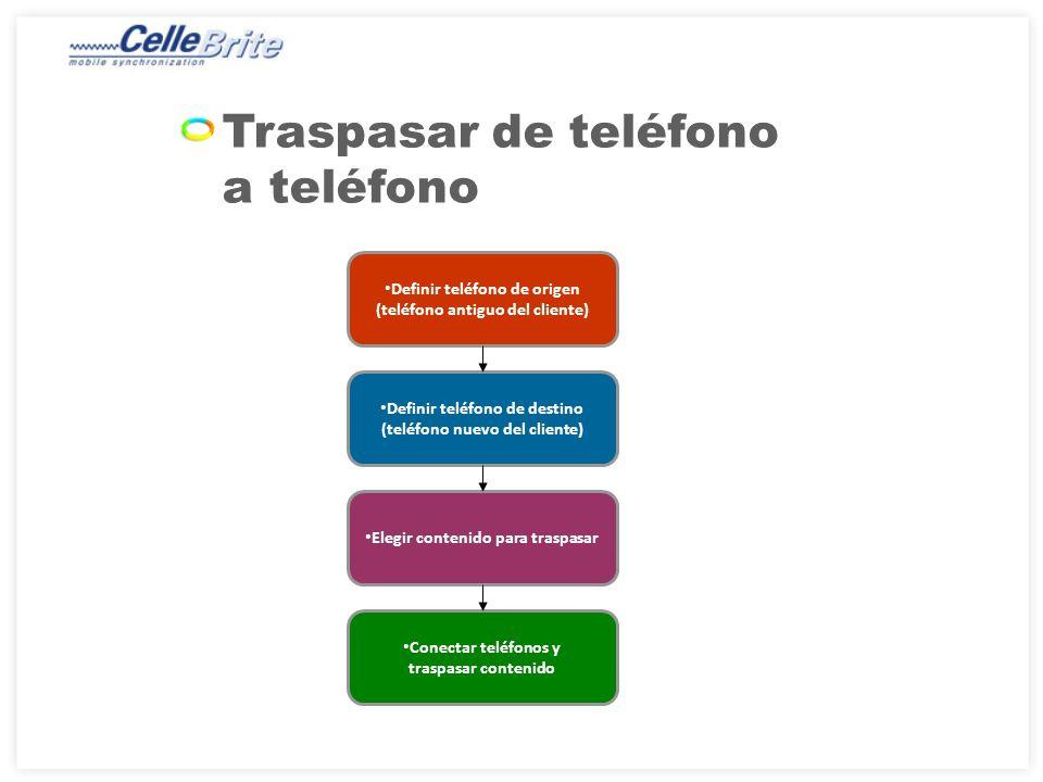 Traspasar de teléfono a teléfono Definir teléfono de origen (teléfono antiguo del cliente) Definir teléfono de destino (teléfono nuevo del cliente) Elegir contenido para traspasar Conectar teléfonos y traspasar contenido
