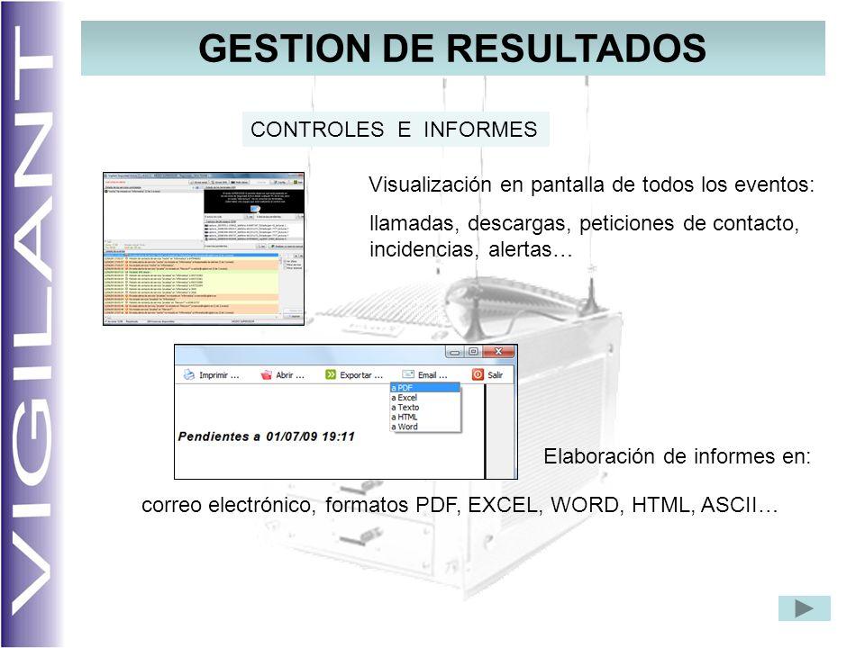 GESTION DE RESULTADOS Visualización en pantalla de todos los eventos: llamadas, descargas, peticiones de contacto, incidencias, alertas… Elaboración de informes en: CONTROLES E INFORMES correo electrónico, formatos PDF, EXCEL, WORD, HTML, ASCII…